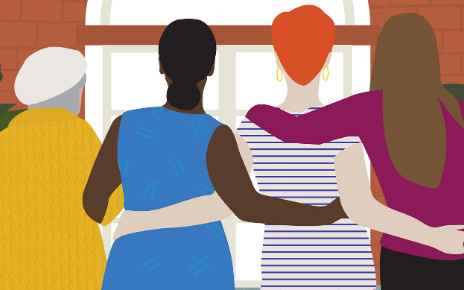 Illustration of four women seen from behind linking arms.