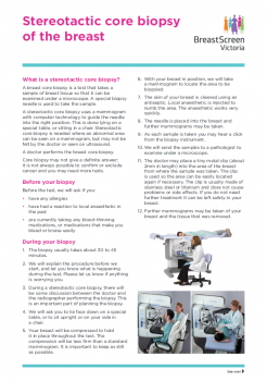 Stereotactic core biopsy fact sheet cover.