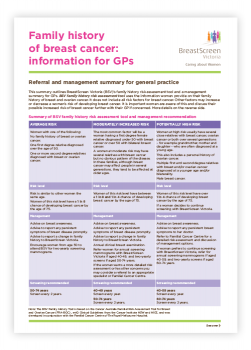 BSV Family history of breast cancer information for GPs